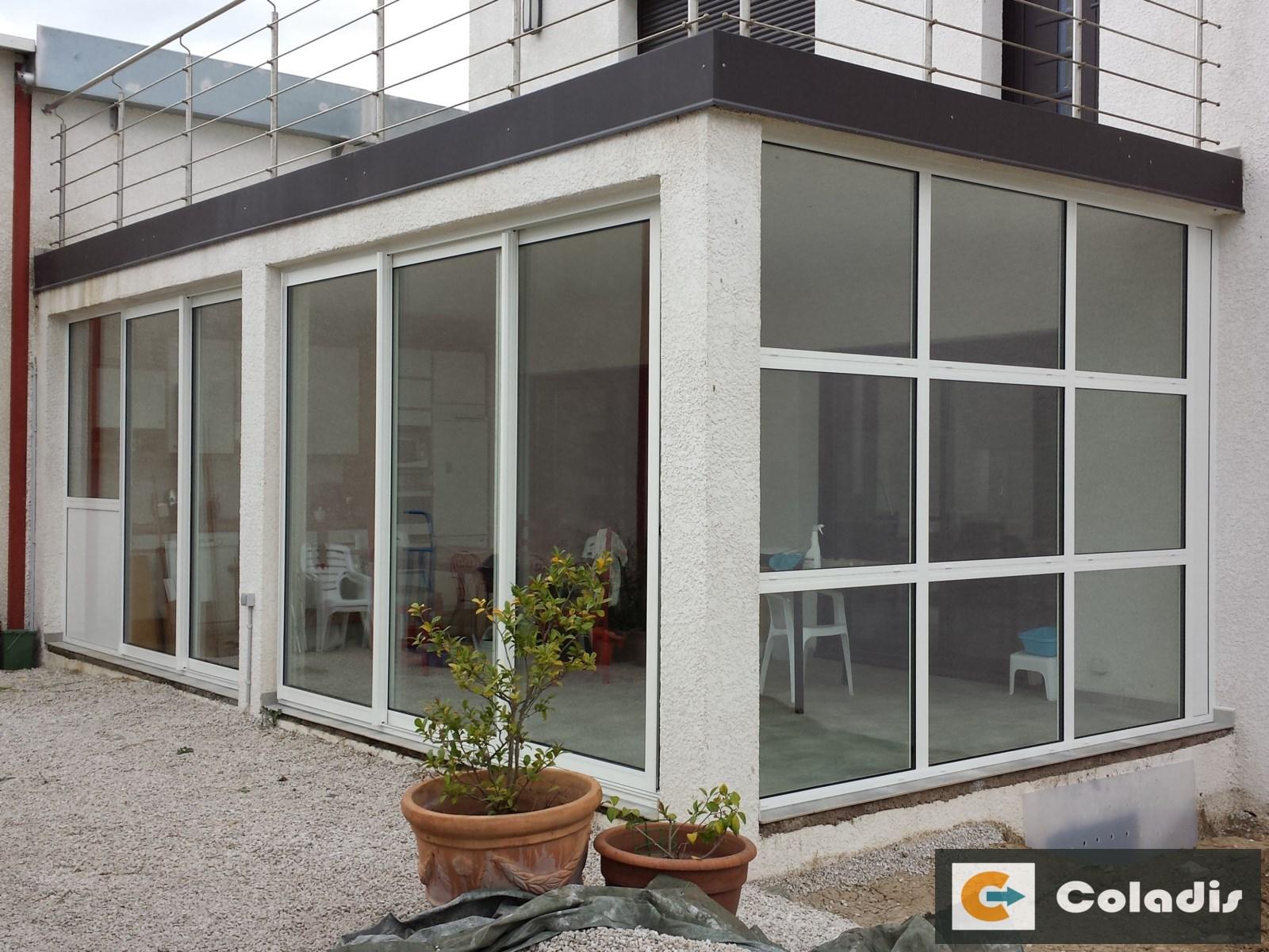 Coladis véranda intégration en angle maison en u Béziers Hérault