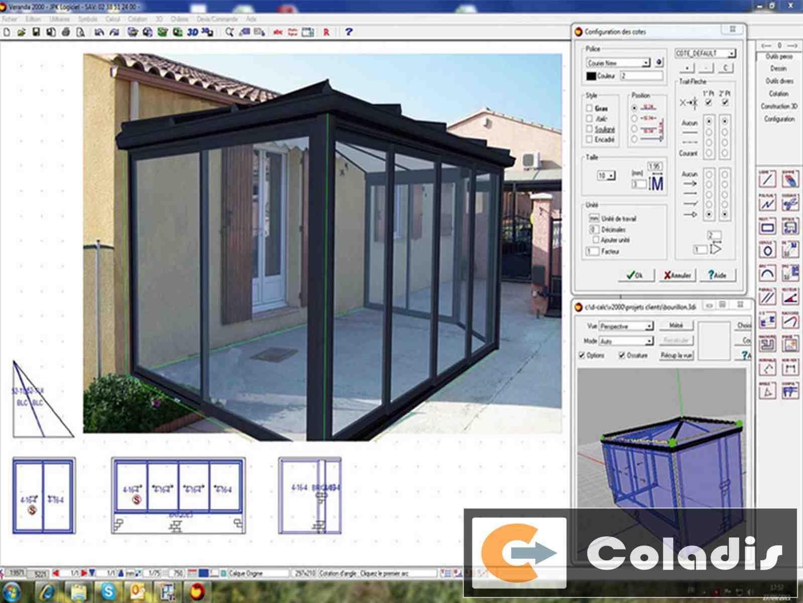 Coladis exemple logiciel véranda conception 3D