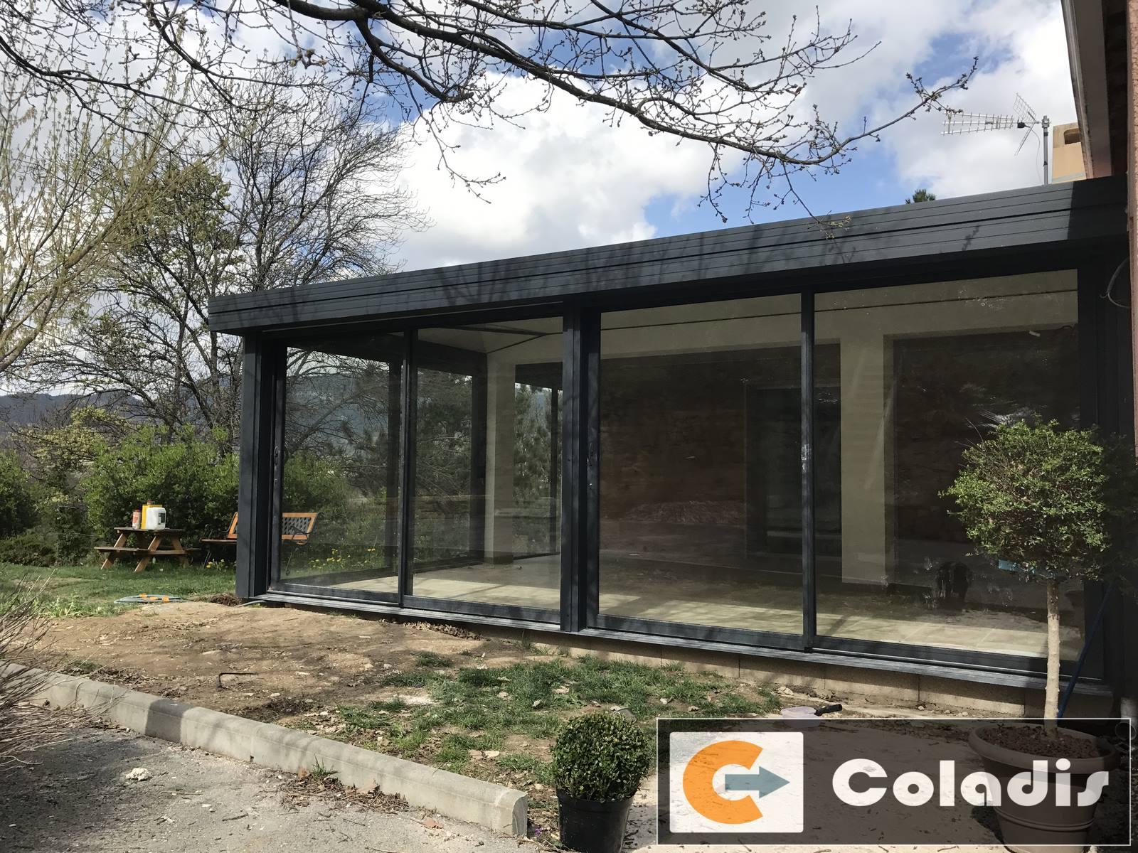 veranda aluminium gris sur mesure