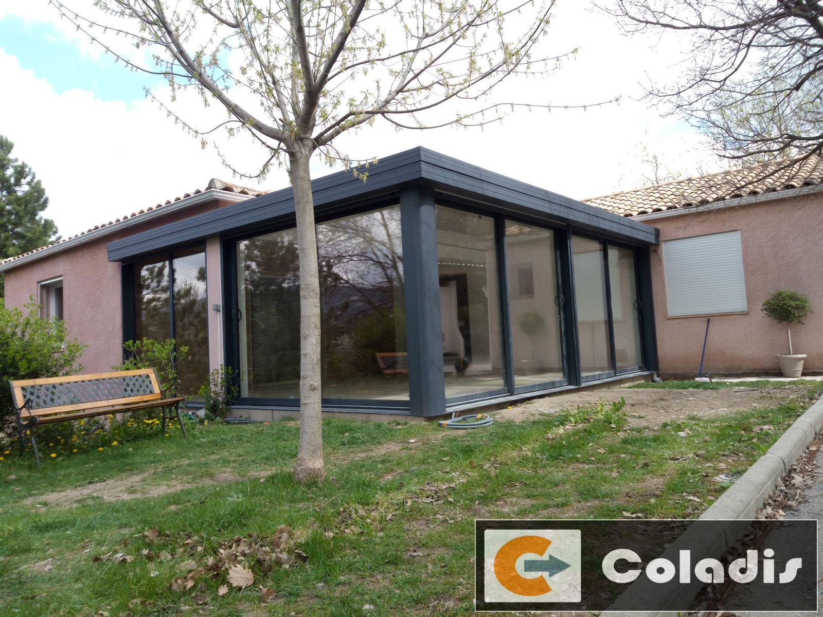 veranda coladis aluminium gris luxe