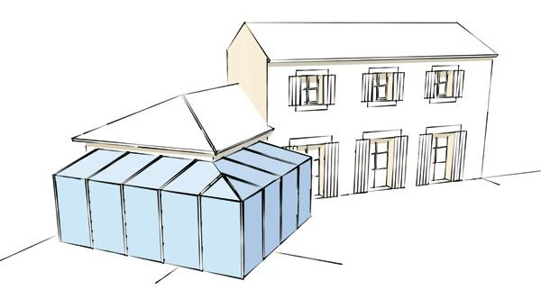 veranda en L avec aretier coladis